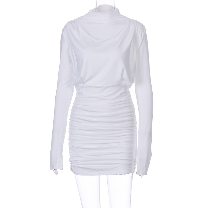 Hugcitar 2020 long sleeve ruched pure sexy mini dress autumn winter women streetwear party outfits clubwear