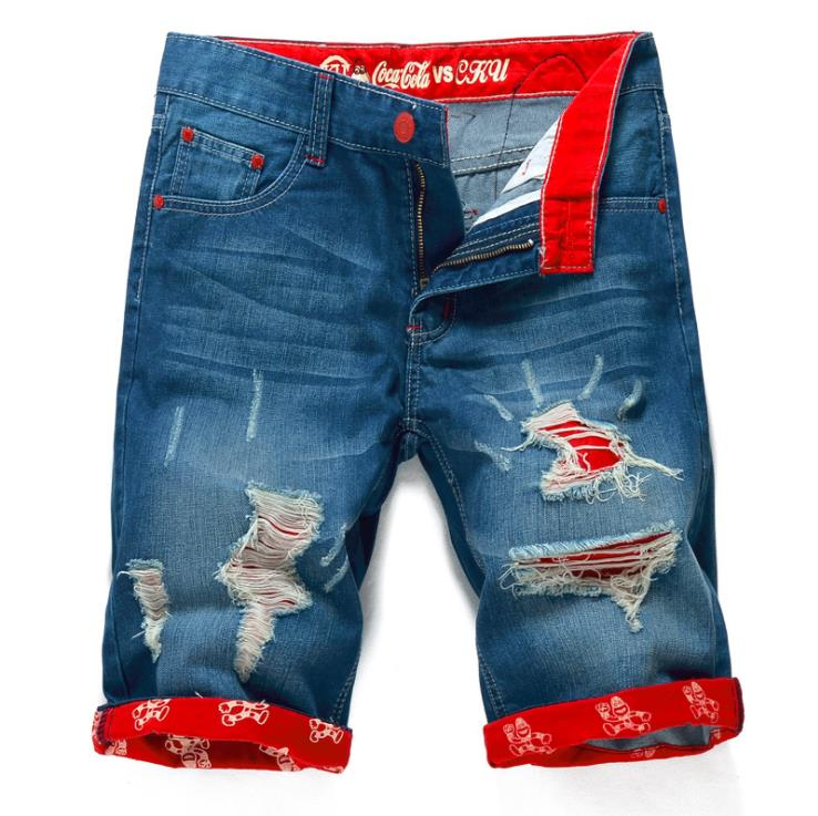 New Fashion Mens Ripped Short Jeans Brand Clothing Bermuda Summer 100% Cotton Shorts Breathable Denim Shorts Male Size 28-38