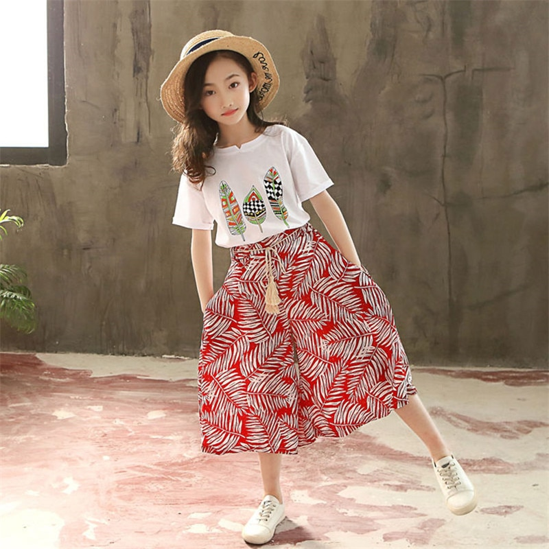 Summer 2021 Baby Girls Clothes Sets Outfits Kids Clothes Short Sleeve +Pants Children Clothing Set 3 4 5 6 7 8 9 10 11 12 Years